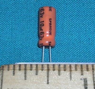 Capacitor, 10uF 63V - Electrolytic