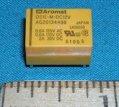 Relay, 12VDC Aromat SPDT 2A 23VDC 0.6A 125VAC
